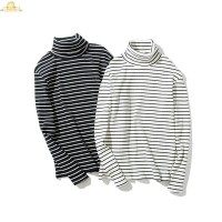 Kaos T-Shirt Pria Lengan Panjang Model Retro Turtleneck Motif Garis