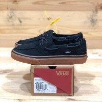 sepatu pria sneakers vans zapato del barco black gum up