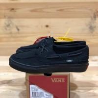 sepatu pria sneakers vans zapato del barco all black up