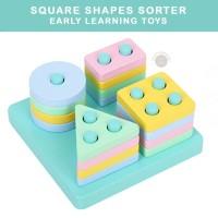 Shapes Stacker Sorter Puzzle Wooden Toys Mainan Edukasi Anak Balita