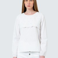 Colorbox Eyelet lace inserted blouse I:Blwfcr120D012 White