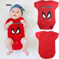 P P Romper Lengan Pendek Motif Kartun Spiderman untuk Bayi