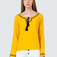 Colorbox Yellow Embroidered Tassel Blouse I:Blwkey120D080 Yellow