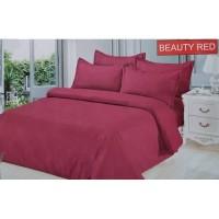 Full Set Bedcover + Sprei Bonita Polos King 180 Warna Beauty Red Merah