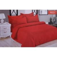 Full Set Bedcover + Sprei Bonita Polos King 180 Warna Red Merah Hati