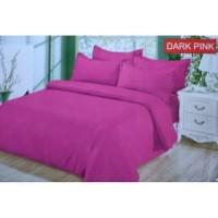Full Set Bedcover + Sprei Bonita Polos King 180 Warna Dark Pink Tua