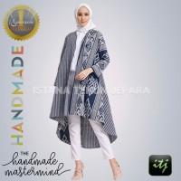 Outerwear batik Wanita Coat Long Blazer Etnik Tenun Motif Sumba