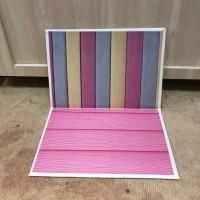 Alas Foto 3D Background Foto 3D A2 motif kayu warna warni dasar pink