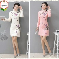 Dress Model Cheongsam Kerah Bulu Simulasi Ukuran Besar Untuk Wani