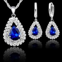SET PERHIASAN KALUNG ANTING DIAMOND EMAS PUTIH CUBIC ZIRCONIA LIONTIN - Biru
