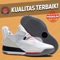 Sepatu Basket Sneakers Air Jordan 33 Low White Cement Pria Wanita NIKE