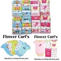 Jumper bayi jumpsuit segitiga [isi 5 pcs] baju kodok flower carts SNI