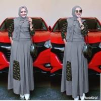 Setelan Gamis Model Army Baju Muslim Loreng SM