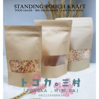 [Premium] Standing Pouch Kraft Window - Packaging Makanan