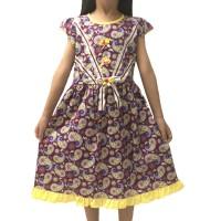 Baju Dress Anak Perempuan Cantik Batik Katun Dasar Merah Ukuran 1-10