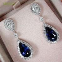 Anting Tusuk Model Berlian Imitasi Warna Biru Safir untuk Wanita