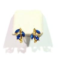 Anting Daun King Blue Safir Emas Kuning 700