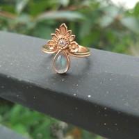cincin perak asli handmade lapis emas 18k etnik batu biduri bulan - Kuning, 7-17