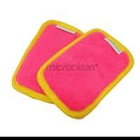 MICROCLEAN Microfiber Sponge Non-Scratch Scrubing Pad Anti Gores-Merah