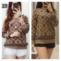 Baju Rajut Import Wanita Nagita LV Knit Sweater Model Baru Warna Brown