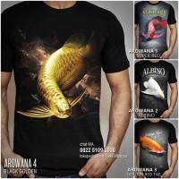 KAOS ARWANA Baju Kaos IKAN AROWANA FISH Super Red Black Golden Albino