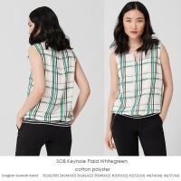 S.OLIVER Keyhole Plaid WhiteGreen Top Baju Atasan Wanita Branded