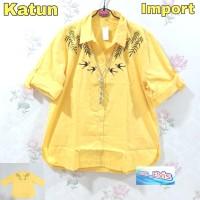 Kemeja / Shirt / Wanita / Cewek / Kuning Bordir Daun XL