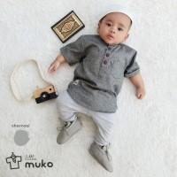 Baju Koko Anak / Baju Muslim Anak / Koko Bayi / Bayi Laki - ABU-ABU