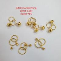 Anting pentol toge bayi anak emas asli 950 24k 24 karat 0,5gram