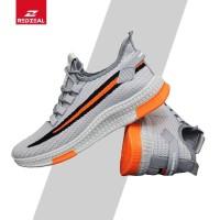 Redzeal sports shoes fly knit Sepatu Pria Import V74 Mesh - Kuning, 40