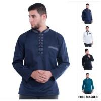 baju Koko Pria Lengan Panjang Akhtar Shanghai Bahan Adem Tebal Premium