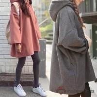Sweater Kaos Hoodie Wanita Model Oversize Longgar Lengan Panjang