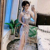 Long Dress Cheongsam Slim Sexy Motif Kotakkotak Angka Besar Untuk