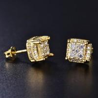 Anting Tusuk Bentuk Kotak Lapis Emas 18K 18K untuk Pria / Wanita
