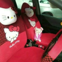 Sarung Jok Mobil KHUSUS BRIO Motif Hello Kitty ( FULL SET )