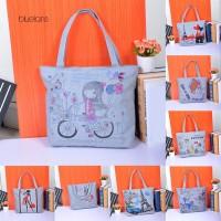 Tas Handbag Tote Wanita Bahan Kanvas dengan Resleting untuk Belanja