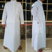 Gamis pria jubah laki laki putih dewasa baju ihram haji dan umroh -