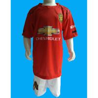 Setelan Baju kaos Bola Manchester united Kaos Anak Laki Warna Merah