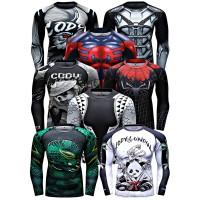 Rash Guard Murah Superhero Fitness Surfing BJJ MMA Compression Shirt