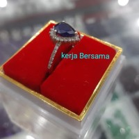 cincin emas putih mata utama batu blue safir keliling berlian eropa