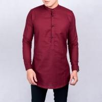 Baju Kemeja Koko Pria Kurta Polos Muslim Merah Maroon - Putih, M