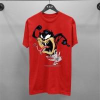 T-Shirt Tazmanian Red / Baju Kaos Distro Pria & Wanita / Cotton 30s