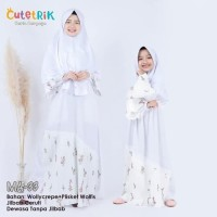 MA 33 Baju Muslim Gamis Ibu Anak Cutetrik Plisket White