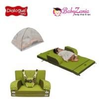 Kasur bayi sofa+sabuk pengaman+kelambu dialogue warna hijau