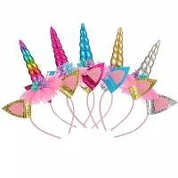 Bando unicorn aksesoris anak 3 warna, merah muda, biru dan silver