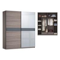 Lemari Baju Pakaian Sliding CROWN Cermin Siantano Putih / Coklat BESAR