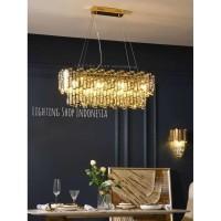 Lampu gantung kristal panjang gold modern meja makan crystal 90cm