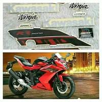Striping set Stiker body Kawasaki NINJA 250 merah hitam - Langka Motor
