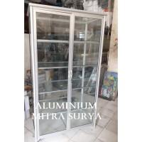 Rak Kaca Lemari Kaca Aluminium Display KUAT TEBAL
