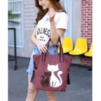 Tas wanita Lucu Kucing Shoulder Bag Bahan Kanvas Premium